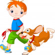 Boy walking a dog — Imagen vectorial