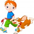 Stock Vector: Boy walking a dog