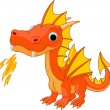Stock Vector: Cartoon fire dragon
