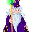 Wizard with staff — Stock Vector