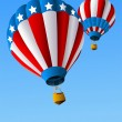 Vecteur: Hot Air Balloons of 4 of July Background