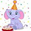 Stock Vector: Baby elephant Birthday