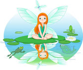 Fairy observes for flying butterfly — Stock Vector