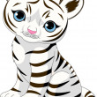 Cute white tiger cub — Vector de stock