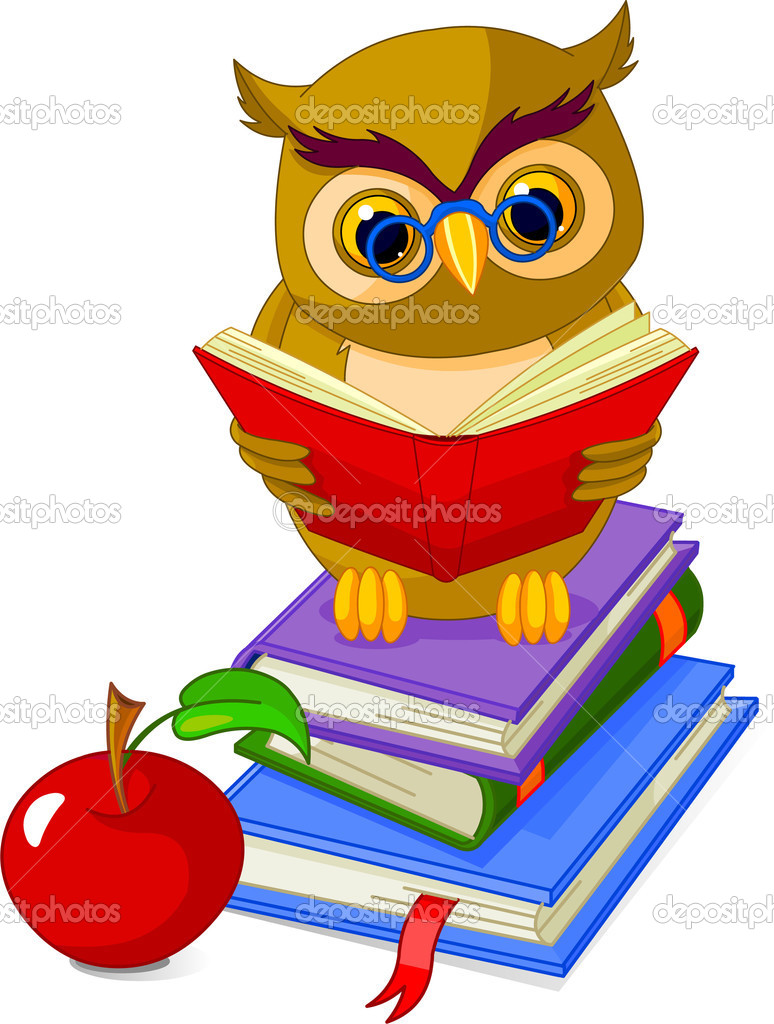 Cartoon wise owl. sitting on Pile book and red apple — Stock Vector #3401981