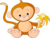 Scimmia bambino mangiare banane — Vettoriale Stock