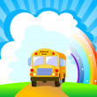 Stock Vector: Yellow School Bus background
