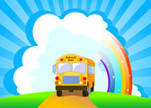 Yellow School Bus background — Stock Vector