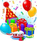Decoração e presentes de aniversário — Vetor de Stock
