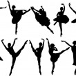 Ballet dancers silhouettes — Stock Vector