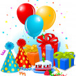 Birthday gifts and decoration - Stockvectorbeeld