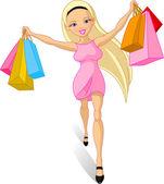Shopping girl: — Stock Vector