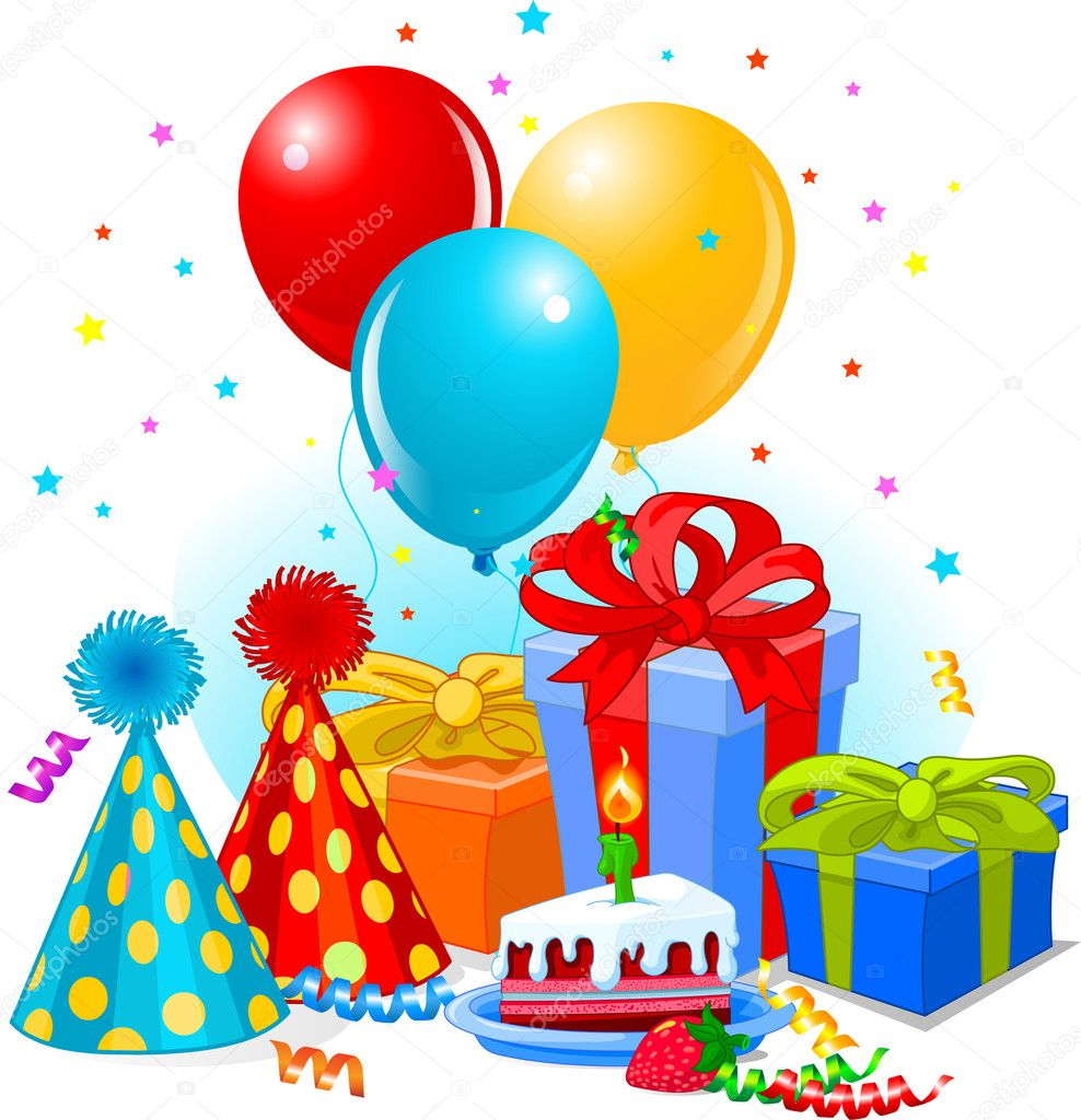 Birthday gifts and decoration ready for birthday party — Imagen vectorial #3476293
