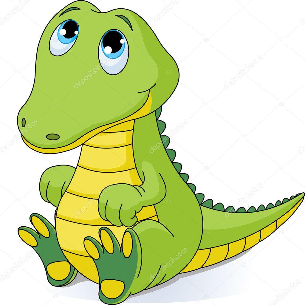 非常可爱的小宝贝鳄鱼的插图 — 矢量图片作者 dazdraperma