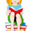 Girl reading book — Stockvectorbeeld