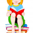 Girl reading book - Stock Vector