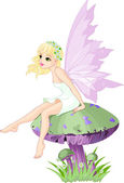 Fairy on the Mushroom — Stock Vector