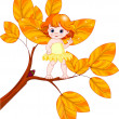 Stock Vector: Autumn baby fairy