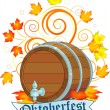 Oktoberfest design with keg — Stock Vector