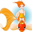 Mermaid riding on a golden fish - Stock Vector