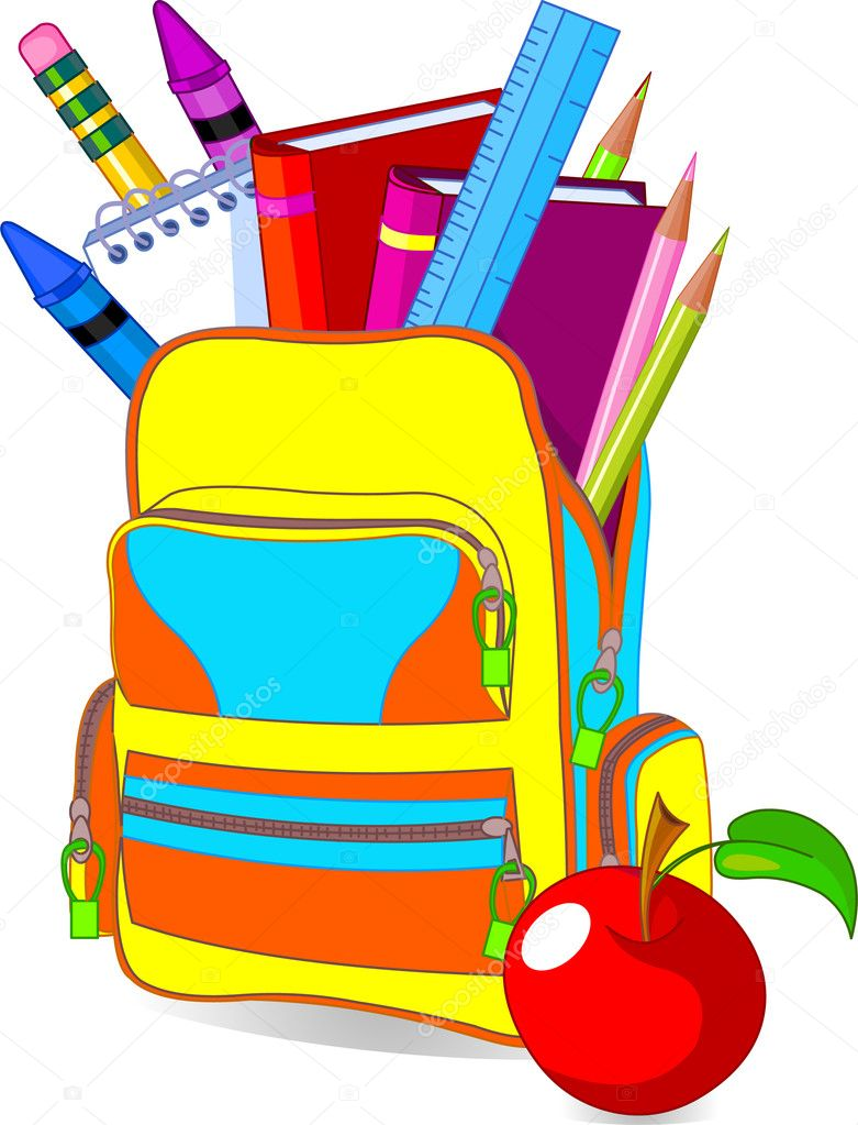 Back to school image concept content school bag and so on — Imagen vectorial #3581408