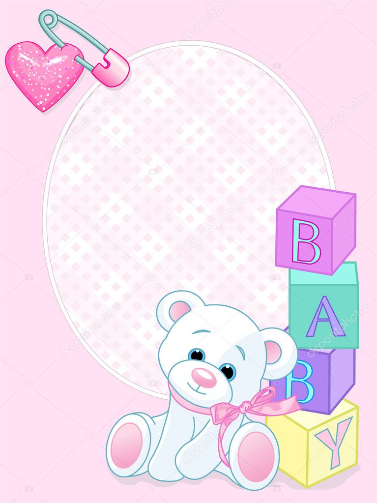 Pink design with Teddy Bear and word baby spelled out by blocks. Arrival card — Stock Vector #3598860