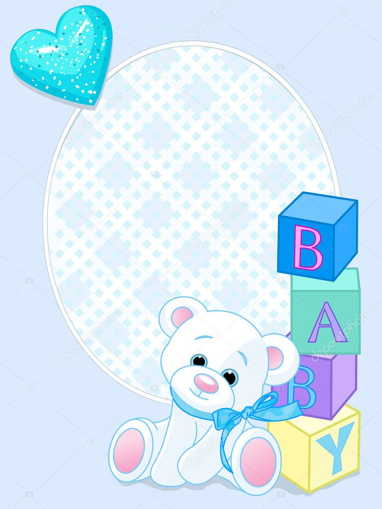 Blue design with Teddy Bear and word baby spelled out by blocks. Arrival card — Stok Vektör #3598864