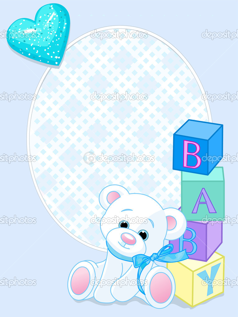 Blue design with Teddy Bear and word baby spelled out by blocks. Arrival card — Stockvektor #3598864