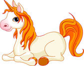 Beautiful unicorn with red mane and tail — Stock vektor