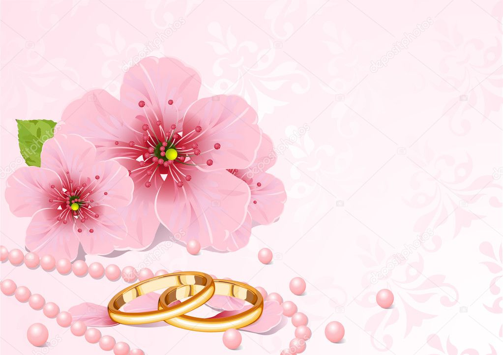 Wedding rings and pink cherry blossom design  — Stock Vector #3633012
