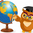Cartoon Wise Owl with world globe — Imagen vectorial