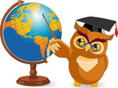 Cartoon Wise Owl with world globe — Stock Vector