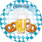 Oktoberfest kutlamaları yuvarlak tasarım — Stok Vektör