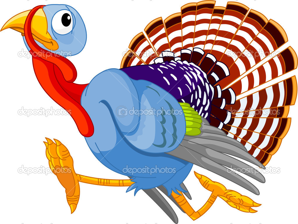 Cartoon turkey running, isolated on white background  — Векторная иллюстрация #3671079