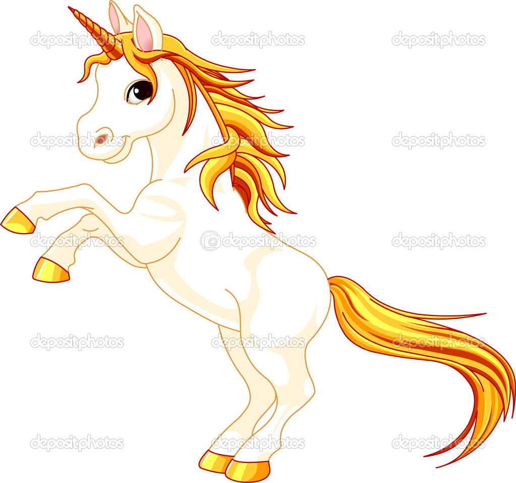 Beautiful  illustration of rearing up unicorn   Stock Vector #3682117
