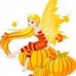 Stock Vector: Autumn Fairy on the Pumpkin