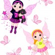Royalty-Free Stock Vector Image: Little fairies flying with butterflies