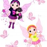 Little fairies flying with butterflies — Stock Vector