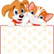 Cat and dog sign - Stock Vector