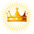 Golden crown on glowing background — Stock Vector