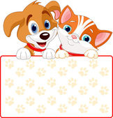 Kat en hond teken — Stockvector