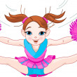 Cute cheerleading girl jumping in air — Stock Vector