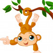 Baby monkey on a tree showing - Stock Vector