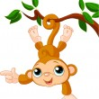Baby monkey on a tree showing — Stock Vector