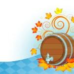 Oktoberfest design with keg — Stock Vector