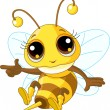 Cute Bee Showing - Stock Vector