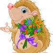 Cute little Hedgehog  giving a bouquet — Stock Vector