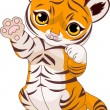Stock Vector: Cute playful tiger cub