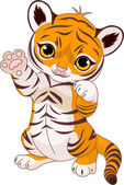 Cute playful tiger cub — Stock Vector