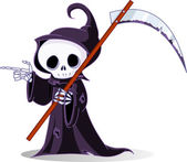 Cartoon grim reaper wijzen — Stockvector